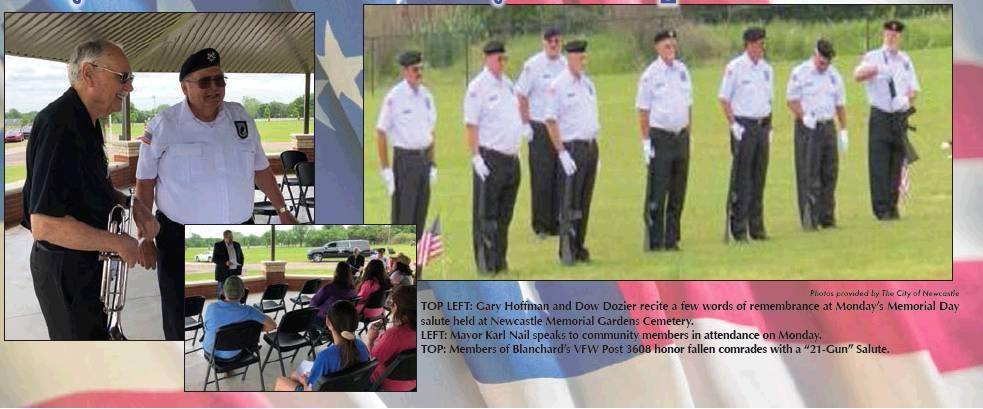 Photos provided by The City of Newcastle TOP LEFT: Gary Hoffman and Dow Dozier recite a few words of remembrance at Monday's Memorial Day salute held at Newcastle Memorial Gardens Cemetery. LEFT: Mayor Karl Nail speaks to community members in attendance