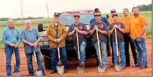 Photo provided Just before a tornado warning was issued May 28 the Dibble Fire Department held a groundbreaking ceremony for Station 2. From left, front row, District 1 County Commissioner Glen Murray, District 3 County Commissioner Terry Daniel, property