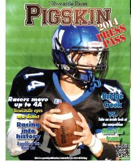 Photos provided/For The Newcastle Pacer                                Former Racer quarterback Casey Freeman is no stranger to attention. In 2014, he graced the cover of The Newcastle Pacer's Pigskin Preview (left) and left the Racers after compi