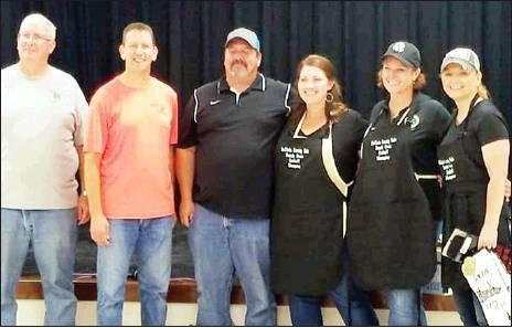 Photo provided                                BELOW: Dutch Oven Winners:  Dutch Oven Contest Adult Winners (left to right):  Second Place - Leon Wilson. Brad Elliott, Heath Triplett; First Place - Janet Triplett, Tammy Elliott, Leah Haxton.
